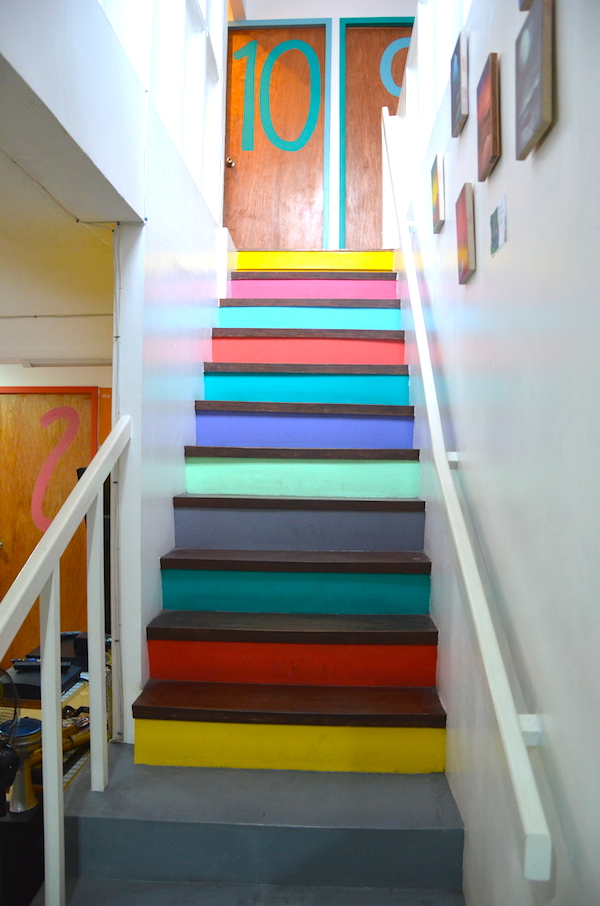 Colorful Stairs leading to the second level of the Hostel