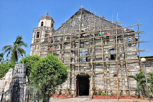 Facade of The Saint James The Great Parish in Bolinao undergoing restoration
