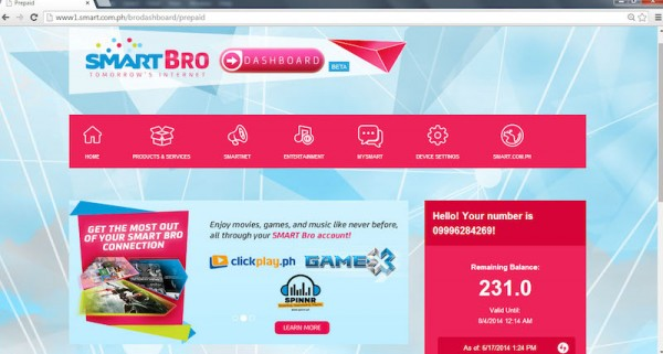 SmartBro Dashboard showing your number and prepaid balance
