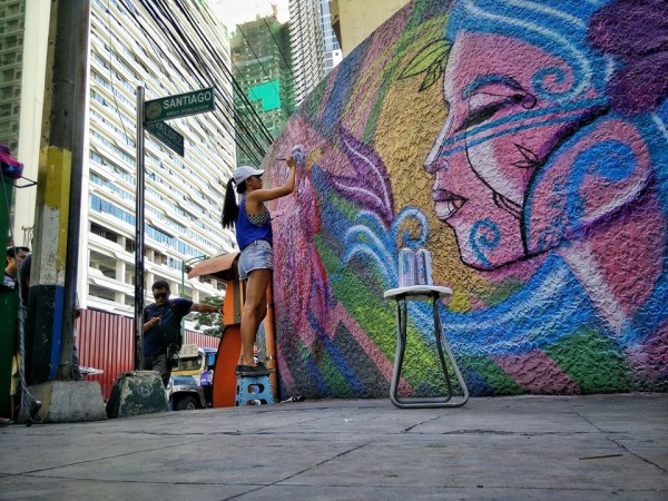 Solenn Heussaff recently repainted the walls of MNL Boutique Hostel Manila - photo by Marc Caballero