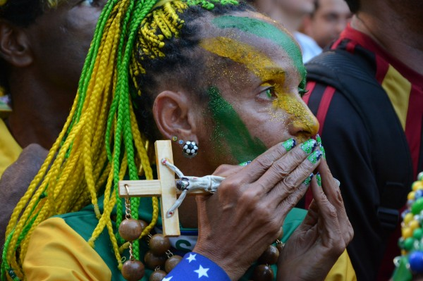 Brazil Fan watching the 2014 World Cup Quarterfinals