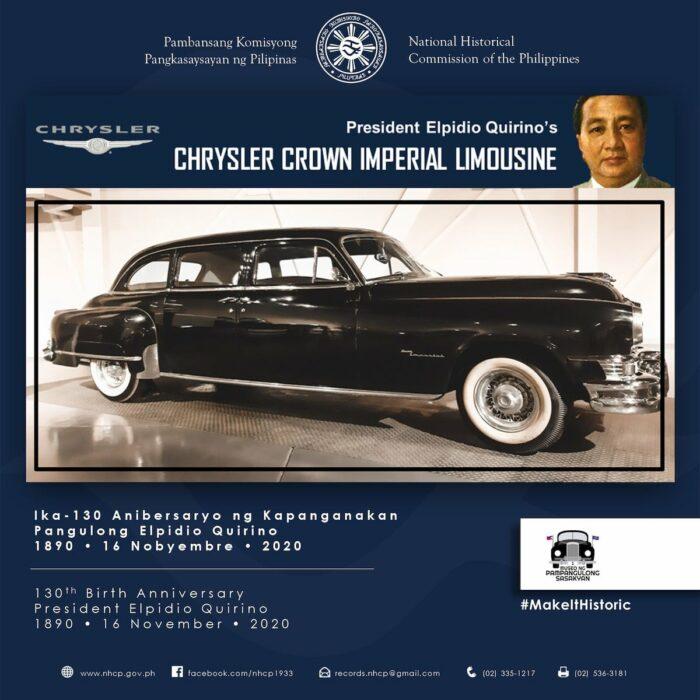 President Elpidio Quirino's Chrysler Crown Imperial Limousine photo via FB Page