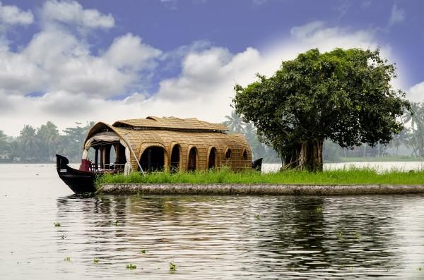 A Kerala House boat in Kumarakom, India