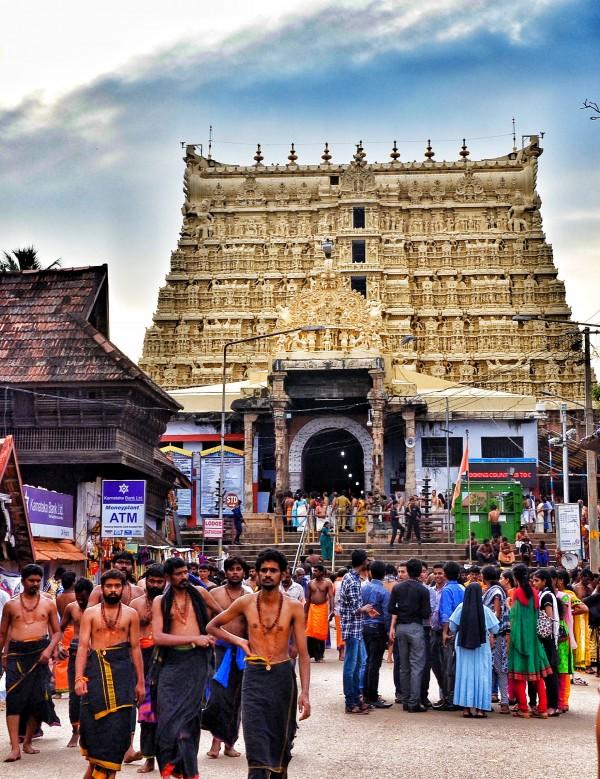 Pilgrims visiting Padmanabhaswamy Temple