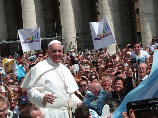 Francis among the people at St. Peters Square.