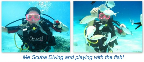 Clelia scuba diving in Sardinia