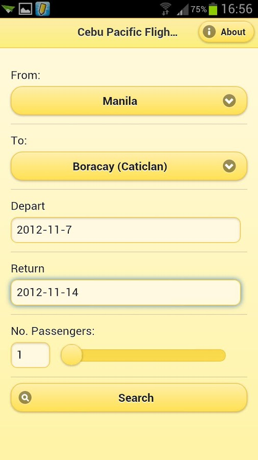 Cebu Pacific Flight Search for Android Mobile Phones