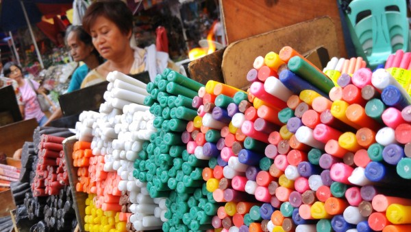 Candle Peddler in Quiapo