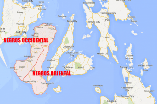 Negros Occidental and Negros Oriental in Philippine map