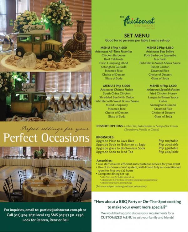 Aristocrat Wedding Menu / affordable weddings in Manila