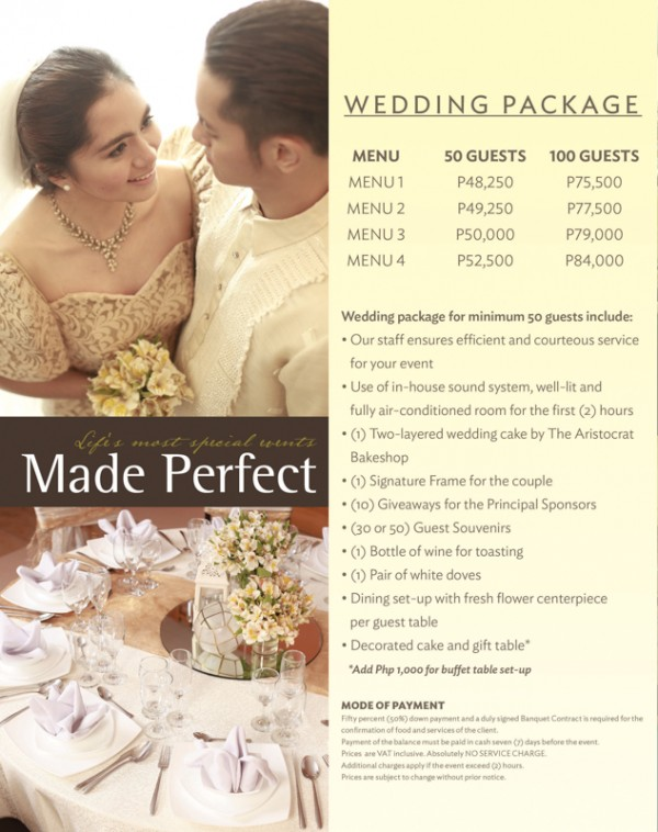 Aristocrat Affordable Wedding Packages / Cheap Wedding Packages
