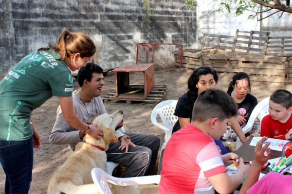 A Projects Abroad new volunteer projects helps a disabled young man interact with a trained therapy dog in Argentina
