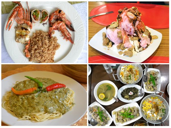 seafood (crab, prawn, grilled squid), Sili ice cream, Pinangat pasta, and other local favorites (laing, bicol express, tinapa rice)