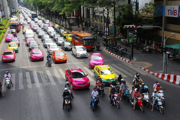 Multi-colored Taxi in Bangkok