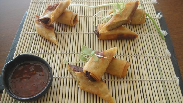 Fried Spring Rolls with pork, prawns and vegetables with Sweet Chili Sauce