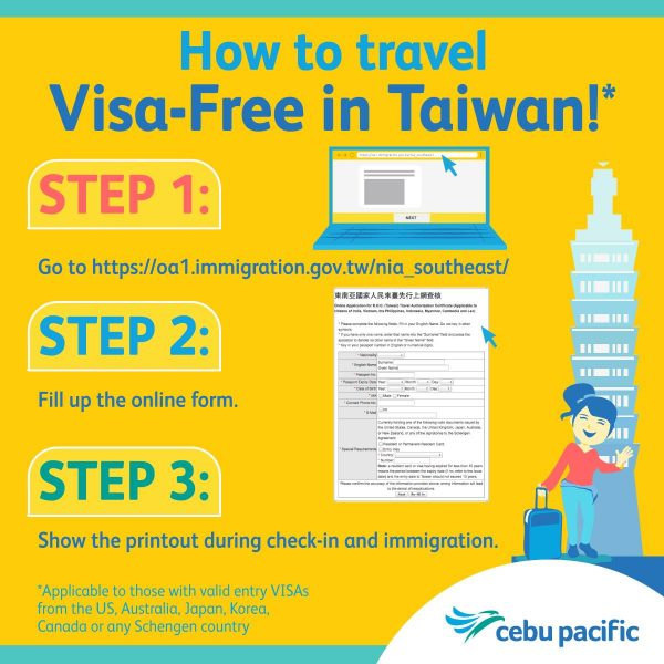 Visa-free in Taiwan image courtesy of Cebu Pacific