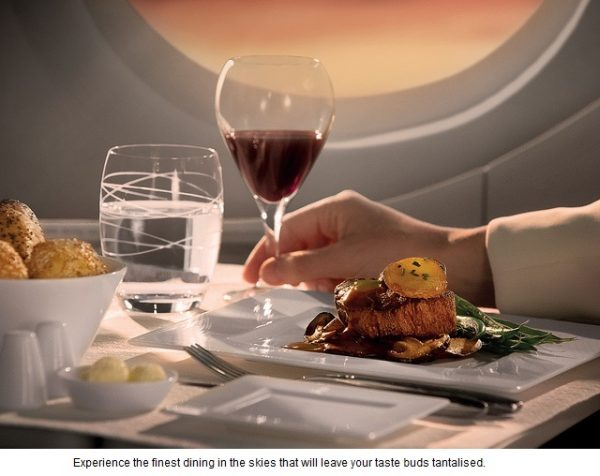 Qatar Airways in flight dining
