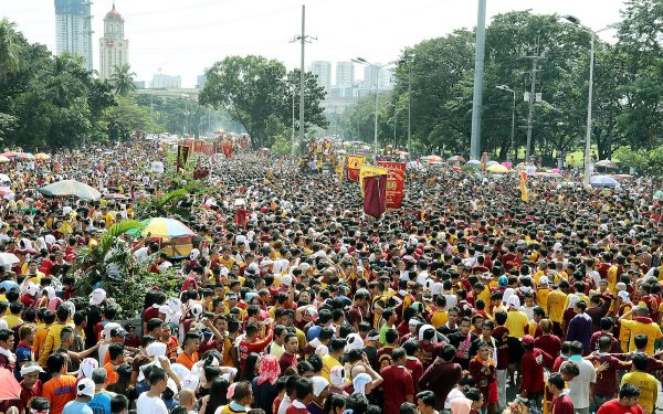 "More than a million devotees of the Black Nazarene join the ""Traslacion 2017"" on Monday (Jan. 9, 2017) along Liwasang Bonifacio former Plaza Lawton, in Manila. (PNA photo by Oliver Marquez) lgi/fom"