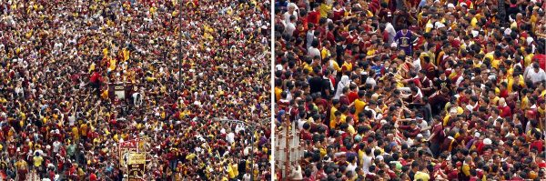 "(from left photo) Thousands of Devotees participate in ""Traslacion 2017"" in celebration of the Feast of the Black Nazarene on Monday (Jan. 9, 2017). Photos were taken at the Jones Bridge, Binondo going to Quiapo Church. (PNA photos by Jess M. Escaros Jr.) lgi/jme"