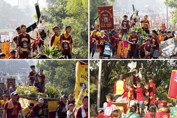 "Young devotees of the Black Nazarene had their own Traslacion or traditional procession of their respective carriages carrying a replica of the image of ""Poong Hesus Nazareno"" from Plaza Lawton to Quiapo Church on Monday (Jan. 9, 2017).(PNA photos by Jess M. Escaros Jr.) JBP/jme"