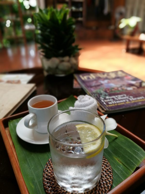 Refreshing Tea and Lemon Water after the massage treatment