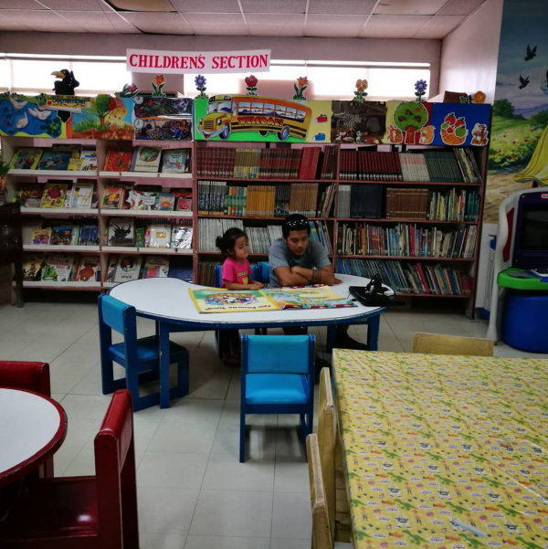 Visited the children's section this morning and tried to do some work but our mobile wifi was a little too weak.