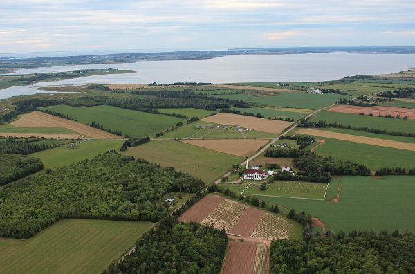 aerial view of the farms