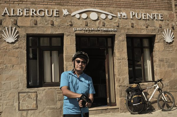 Checking out the accommodation in this 9 Euros-a-night albergue.