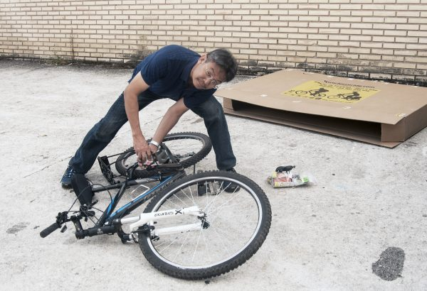 Fixing up the bike which was shipped to my hotel the day I arrived