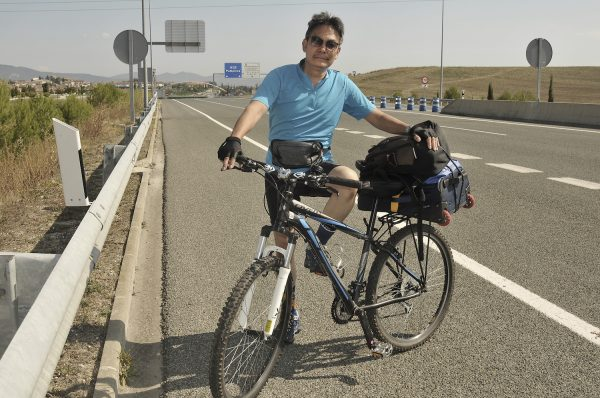 On the outskirts of Pamplona entering the expressway with my 10 speed bike, two backpacks and a bottle of water.