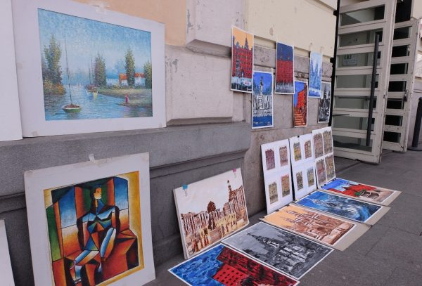 Paintings for sale in the streets near Museo del Prado in Madrid