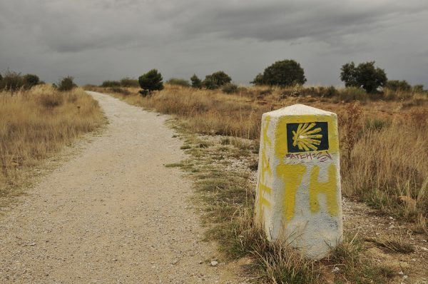 This concrete Camino post marks the start of the ascent through the high mountain pass across the Montes de Leon. Astorga to Ponferrada, Spain