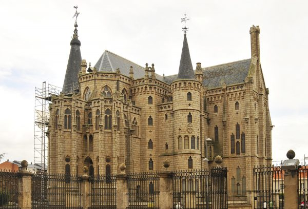This is the bishop's palace in front of the cathedral designed by Gaudi.