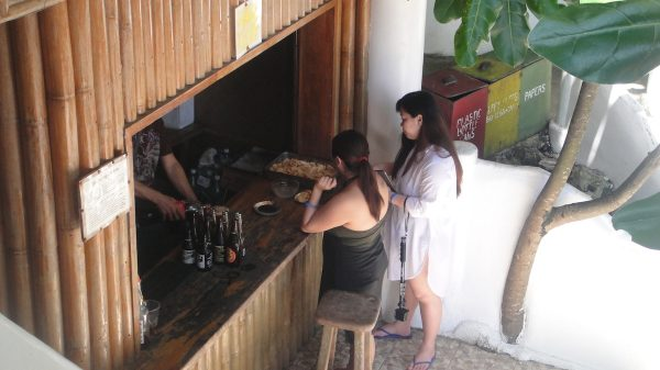 Guests grabbing drinks from the bar