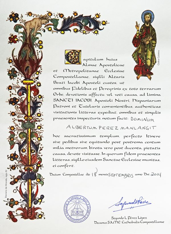 My Compostela Certificate written in Latin with my name as Albertum Perez Manlangit