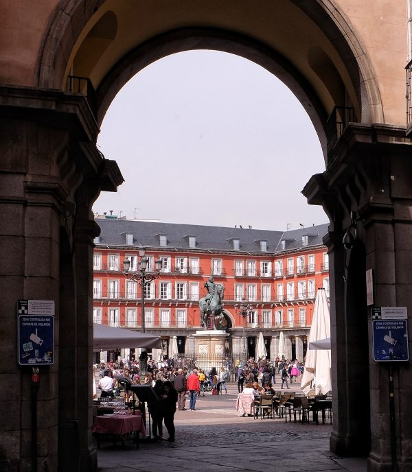 One of the gates of Plaza Mayor in Madrid