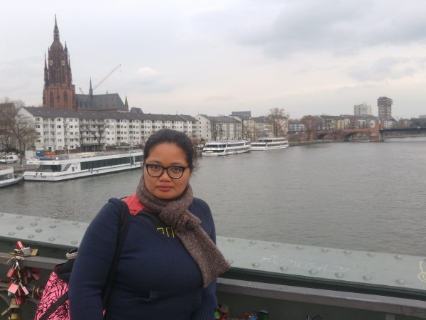 With the Frankfurter Dom and the Main River behind me