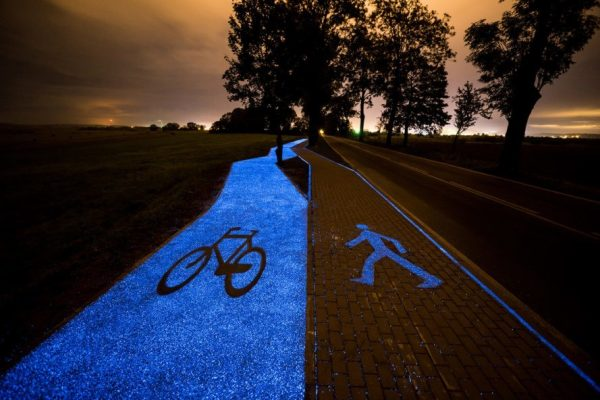 A Glow-in-the-Dark Bicycle Path in Poland