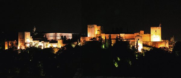 The Alhambra at night.
