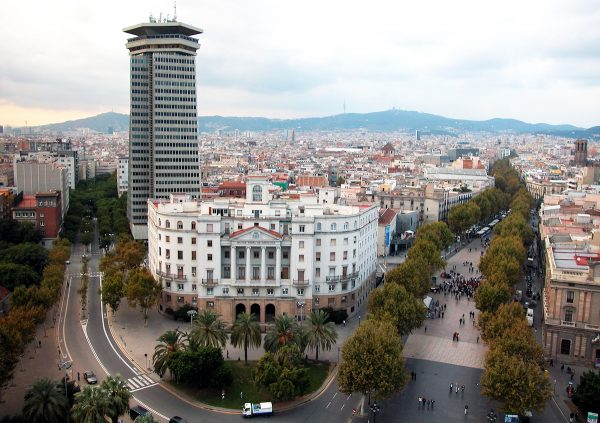 The 1-1/2 km. long tree-lined Las Ramblas is where the action is in Barcelona.