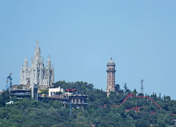 Overall view of the church and amusement park