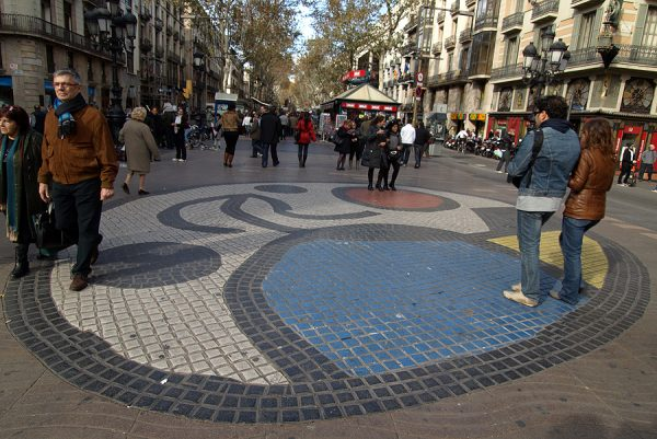 """The mosaic """"Pla de l'Os"""" by the artist on the Ramblas of Barcelona"""