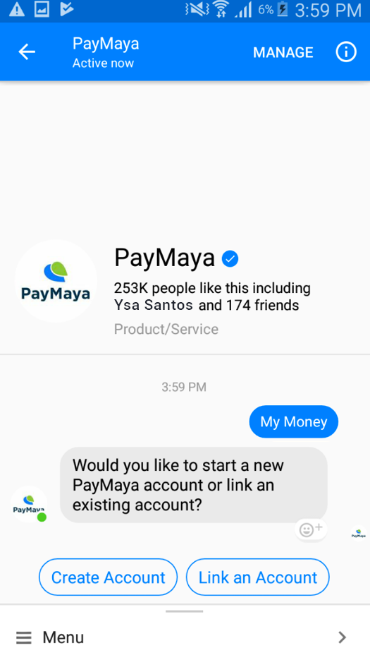 Sending Money using PayMaya via Facebook Chat