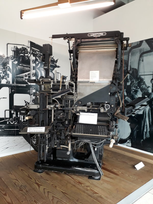 The linotype, invented in 1884.