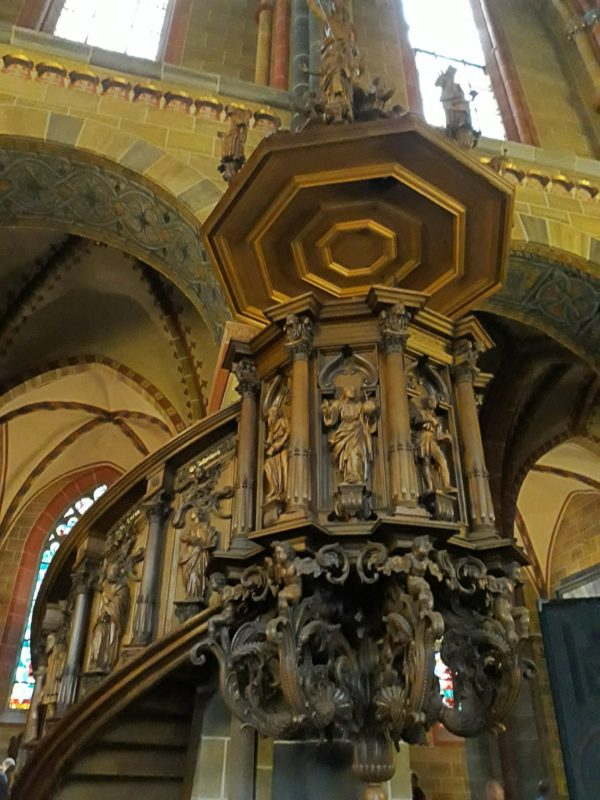 The pulpit with elaborate designs