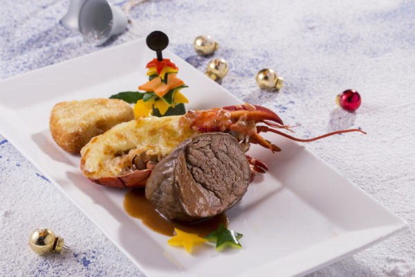 Christmas Cheese Baked Lobster and Beef Tenderloin Served with Port Wine Sauce
