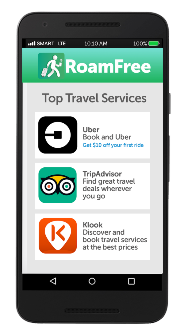 Use RoamFree App abroad to access free travel apps