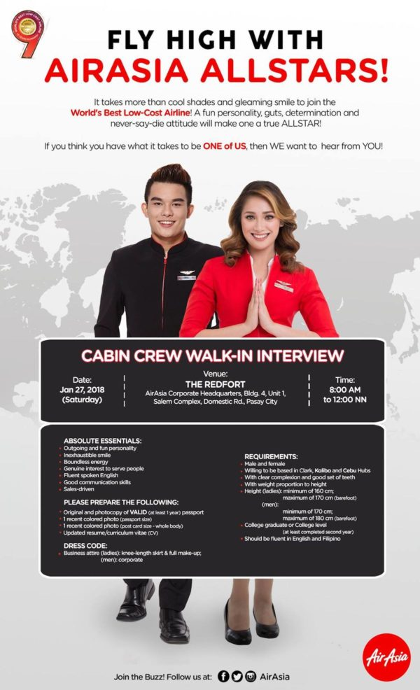 AirAsia is looking for new Cabin Crews