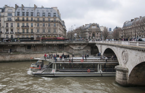 One of the few boats plying the River Seine.