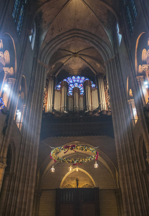 The pipe organ above the entrance of the Cathedral.